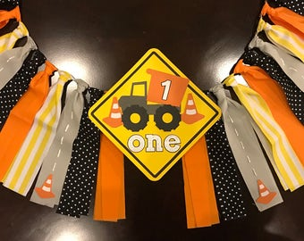 Construction Truck High Chair Birthday Banner