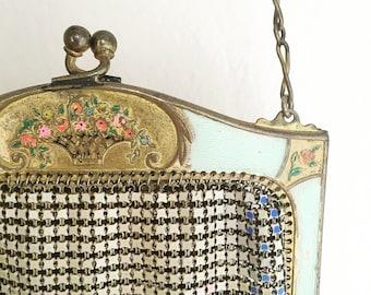 RARE 1920s Whiting and Davis purse/ Art Nouveau bag/Vintage Whiting and Davis Mesh purse/1920s purse/1920s Bag/Decorative Bag Frame/Flapper