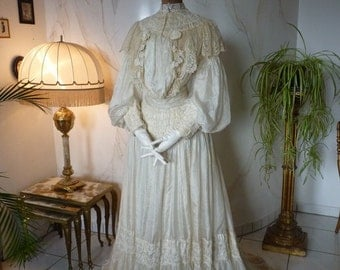 1899 Wedding Dress, Victorian Dress, antique gown, dress, antikes Kleid, Bridal Gown, ca. 1899