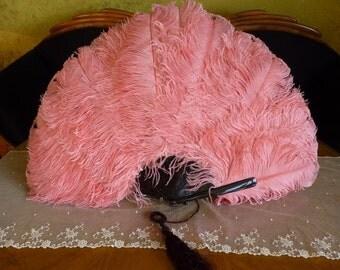 Large Pink Ostrich Feather Evening Fan, antique Fan, Victorian Fan, ca. 1900