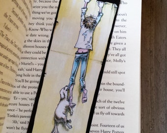 Funny Bookmark, Bookmark with Dog, Art Bookmark, Drawing Bookmark, Bookmark Artist, Book Gift, Gift for Bookworms, Gift for Readers