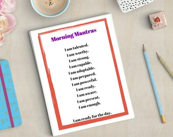 Morning Mantras & Magical Mantras (PRINTABLE - INSTANT DOWNLOAD): Self Care • Radical Self Love • Wellness • Mental Health