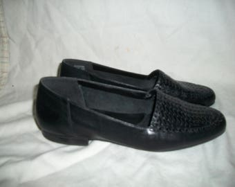 Vintage Naturalizer Black Leather Woven Loafers Size 9M