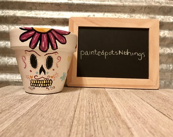 Dia De Los Muertos Theme Hand Painted Flower Pot