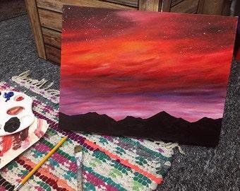 Autumn Haze sunset acrylic painting deep edged