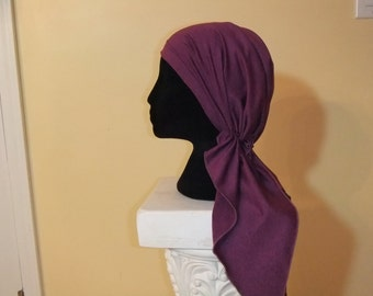 Boysenberry purple heathered pre-tied headscarf chemo hat cap headwear