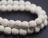 White Round Shape Lava Beads,White Volcanic Rock Beads,6mm 8mm lava beads,15 inches one starand