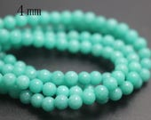 4mm Green Mountain Jade Beads,Candy Jade Beads,Smooth and Round  Beads,15 inches one starand