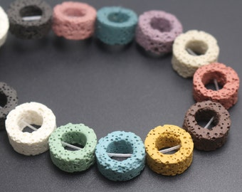 Mixcolor Donut Shape Lava Beads,Mixcolor Volcanic Rock Beads,15 inches one starand