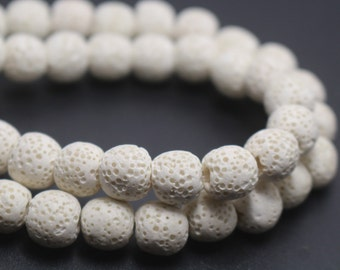 White Round Shape Lava Beads,White Volcanic Rock Beads,6mm 8mm lava beads,15 inches one starand
