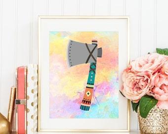 Axe art print, Printable Axe art, indian axe art, axe poster, pastel axe art, 8x10 axe, 11x14 axe, digital file, instant download, rainbow