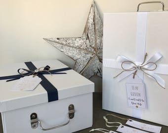 Groom Gift Box, Gift Tags, Flat Pack Box, To my Groom, Wedding Gifts, Before The Wedding, Meet you at the Alter