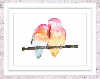 Loving Birds Print, Watercolour Lovebirds, Birds in Love Art, Valentines Day Art Print, Wedding Art, Happy Anniversary Art, Watercolour