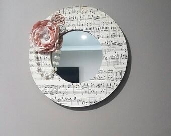 Music, pearl, satin flower mirror
