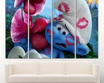 Smurfs The Lost Village wall art Smurfs wall decor The Lost Village print Smurfs print Smurfs wall decor The Lost Village Kids room decor