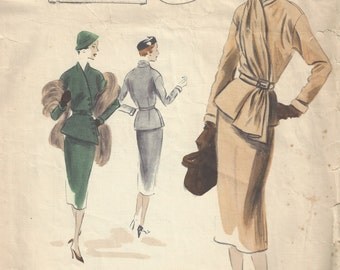1950 Vintage VOGUE Sewing Pattern B40 SUIT DRESS Skirt Jacket Scarf (1400)