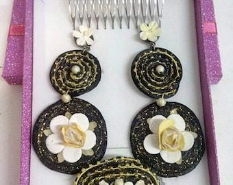 Set of earrings, peina and brooch