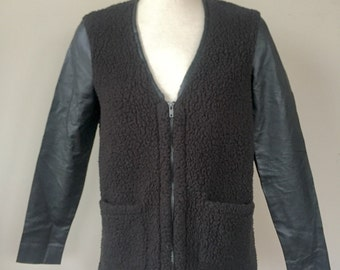 Fuzzy Zip-up Jacket with Pockets and Pleather Arms, Cozy zip-up jacket, Black Zip-up Jacket, fuzzy zip-up Sweater, retro fashion jacket