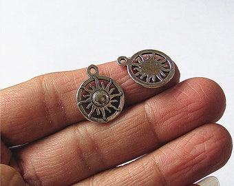 Bulk 50 Sun Charm Pendant Antique Brass / Silver Drop Handmade Jewelry Finding 16x19mm