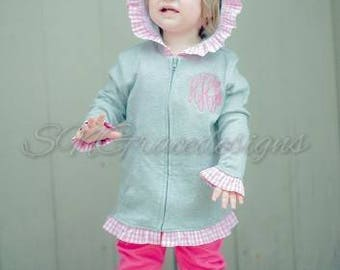 Monogrammed gingham ruffle jacket