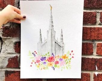 LDS Temple Watercolor (Portland), Portland Oregon Temple