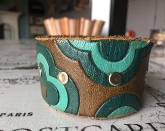 Green and brown leather cuff bracelet