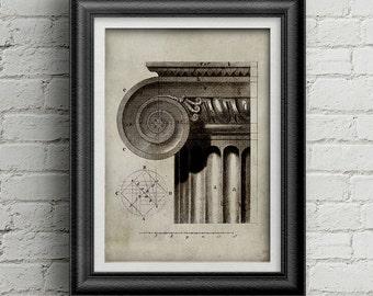 Architecture capital print 009 -  digital prints download - architecture print - capital illustration - architecture studio decoration