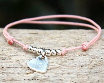 Bracelet cordon au choix perles et coeur en argent massif 925