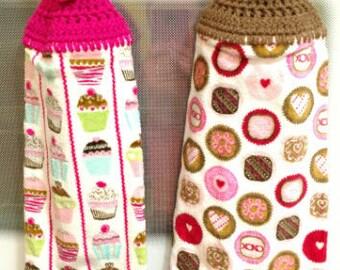 Handmade Valentine's Day Crocheted Hanging Kitchen Towels/Crocheted Kitchen Towel/Hanging Kitchen Towel/Valentine's Day Decor/Ready to Ship