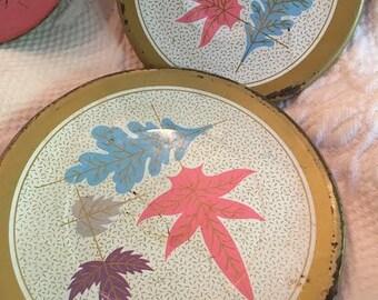 vintage  kids plates play plates  pink blue leaf plates