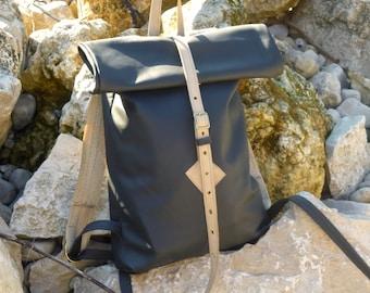 Roll-up Backpack, leather backpack, dark blue