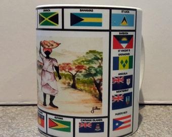 Colourful Printed Mugs of Caribbean Islands Flags. Coffee Mug- Tea Mug - Gift