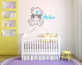 Personalized Name Bear Baby Boy  Room Nursery - Mural Wall Decal Sticker For Home Bedroom (78)