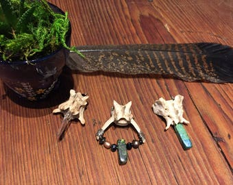 Fox vertebrae and jasper necklace