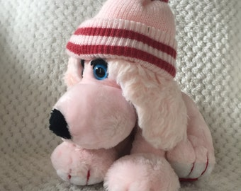 Vintage 1980s ANTICS Fleagle Beagle Plush DAPHNE Pink Matthew Fox Puppy Dog Stuffed Animal Knit Hat 1982