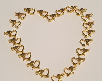 10/25 Heart Shaped Gold Lobster Clasps 12x8mm. Heart Shaped Gold Plated Lobster Clasps 12x8mm