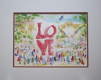 Philadelphia Love Park is Original Watercolors Painting By Joe Barker (16 x20 ) DBL matted.