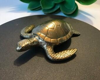 Sea Turtle Home Decor, Gold Faux Aquatic Sea Turtle Taxidermy, Nautical Wall Art, Home Decor