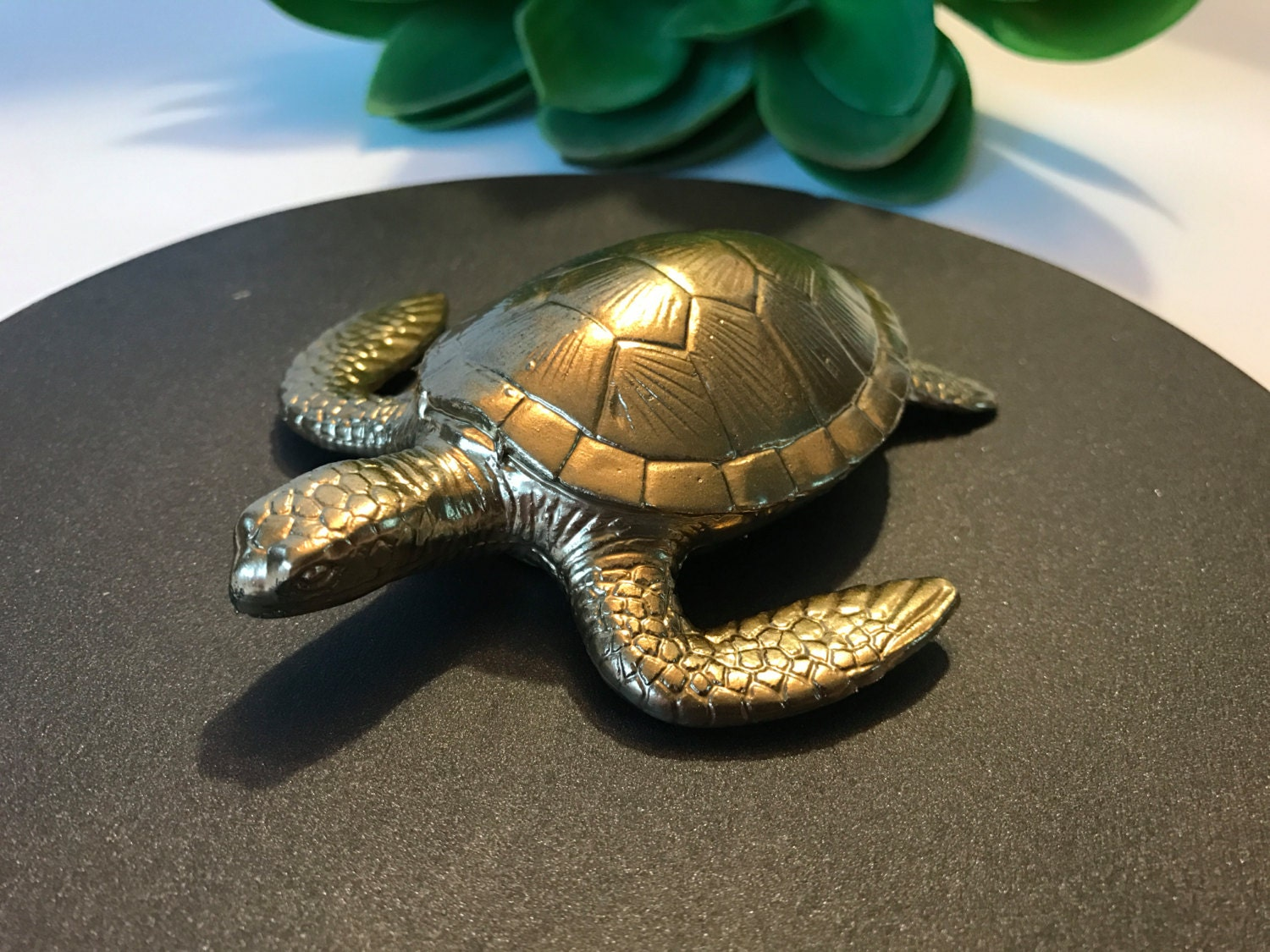 Sea Turtle Home Decor Gold Faux Aquatic Sea Turtle Taxidermy