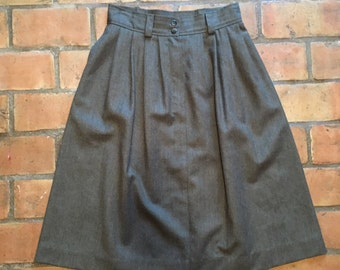 Green, Wool Skirt with Pockets