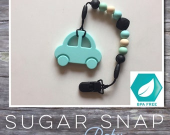 Silicone Car teether - baby baby teether - toddler teether - baby toy -bpa free - silicone toy - chew toy - baby gift - pacifier - name