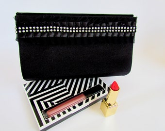 Formal Black Clutch Purse, Unique  Classy Evening Clutch, Party Purse, Gift for Wife, Best Friend Birthday, Cocktail Clutch Bag, Prom Purse