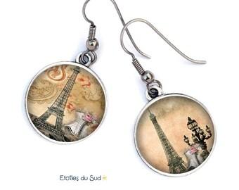 Boucles d'oreilles Paris,tour Eiffel, romantiques, ref.270