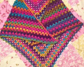 Bright crochet summer shawl