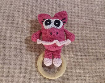 Cotton crochet piggy rattle, pig rattle