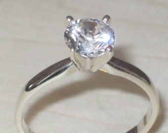 925 Sterling Silver CZ Solitaire Engagement Ring Any Size L M N O P Q R S T U V W X Y  Z - 5.5mm Round Cubic Zirconia Stone