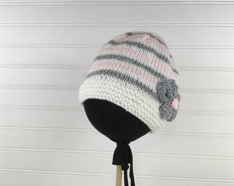 Grey, Pink and  White Striped Knit Baby Hat