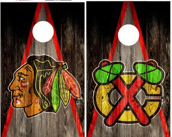Custom Built Chicago Blackhawks Cornhole Boards Bag Toss with FREE bags FREE Storage Case, Rustic Triangle Wood Design