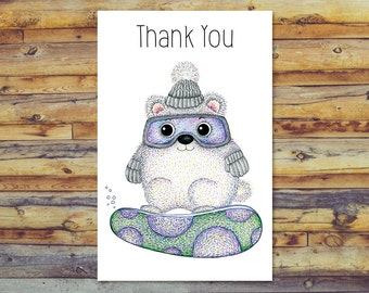 Winter Thank You Cards, Printable Cards, Snowboard Bear Instant Download, Digital Card, Cute Bear Card, Digital Download, Pencil Art
