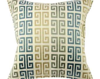 Gold Gray Blue Key Pattern Decorative Pillow 20 Inch, Lumbar